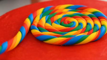 外国小姐姐脑洞大开,制作巨大的彩虹棒棒糖蛋糕,看后好想来一块