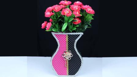 创意生活,教你用纸板DIY好看的纸艺花瓶!