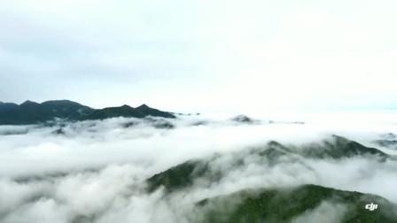 航拍群山风景如画, 山上云雾缭绕, 如仙境一般