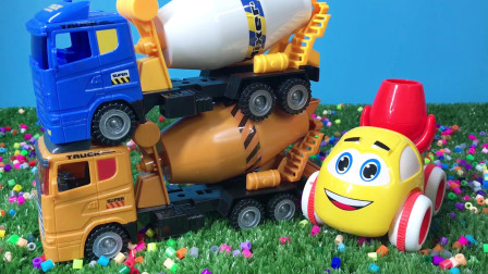 3辆搅拌机玩具车 混泥土工程车拆箱 工程车演示