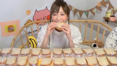 日本大胃王木下,挑战36个奶油面包,大口大口吃着,看着真过瘾