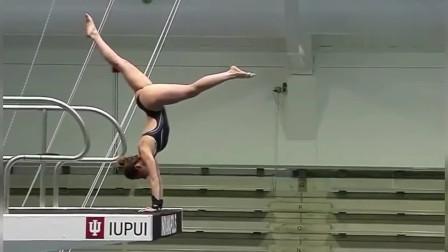 地狱级难度高台跳水,美女连做个预备动作都是考验!