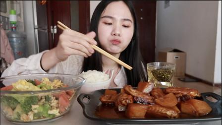 快手料理 土豆焖鸡翅 西兰花香肠炒蛋 就是气气 吃播 健康 减脂 减肥餐
