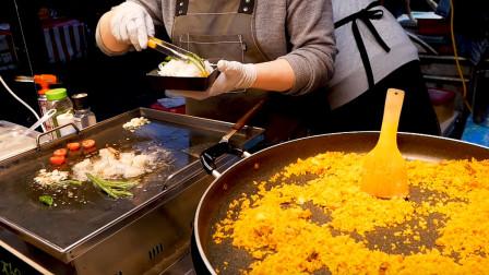 日韩美食之旅,夜市海鲜饭,虾仁配菜都是现烤的