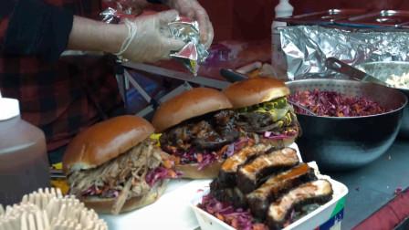 """国外街头小吃,超大汉堡包,配菜也是很新鲜,感觉自己多年来吃的是个假""""汉堡"""""""