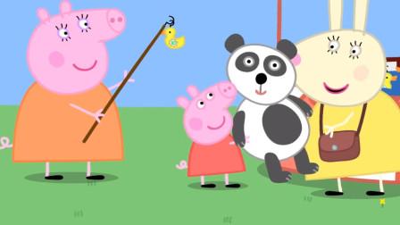 小猪佩奇和乔治玩儿蹦床 小狗丹尼开直升机送乔治 玩具故事