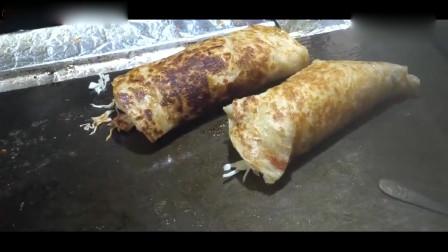 韩国街头美食:培根、鸡蛋,这是韩国式手抓饼吗?