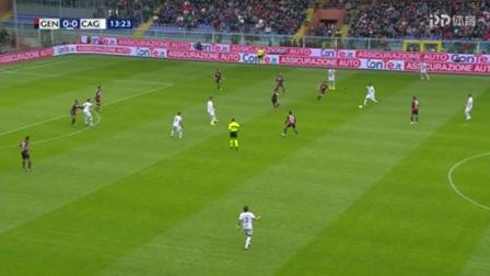 第14分钟卡利亚里球员巴雷拉射门