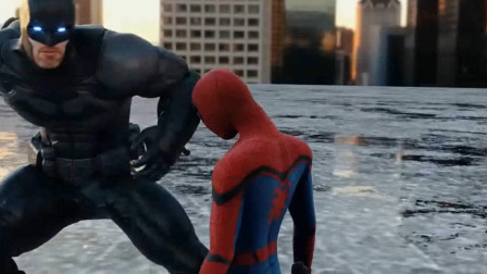 蜘蛛侠很聪明,巧妙利用蛛丝将蝙蝠侠直接倒栽葱