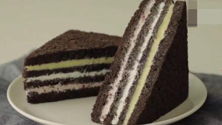「烘焙教程」日常小甜点简单做法—黑巧克力三明治蛋糕