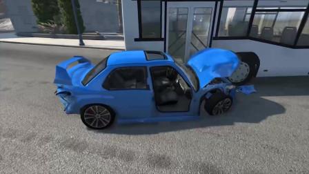车祸模拟,大客车开足马力的撞向小汽车