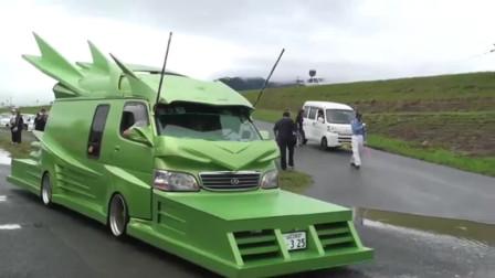 看看日本人的面包车,改装成怪兽般,转个弯都困难!