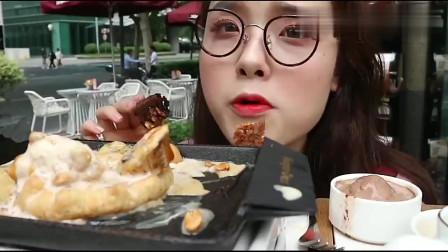 上海吃播:阿尤外出,带你吃哈根达斯铁板冰激凌,幸福的味道