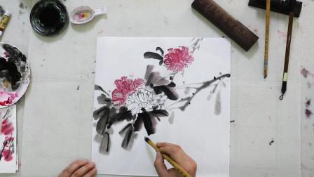 水墨芙蓉画法,中国画绘画艺术欣赏,初级国画教程