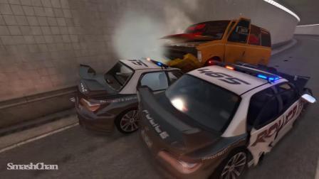 BeamNG模拟汽车卡车警车碰撞