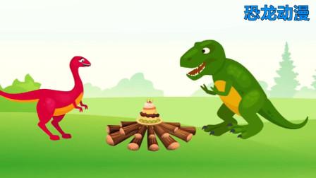 霸王龙砸开恐龙蛋,抓住棘背龙 恐龙趣味动漫