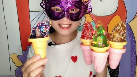 """妹子吃""""创意冰淇淋果冻"""",加上彩糖粒子超漂亮,Q弹水润好美味"""