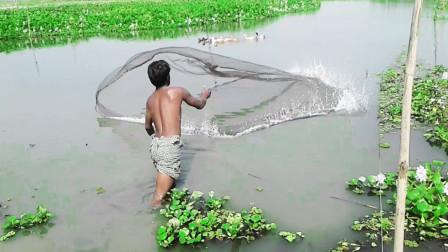 家里没肉下锅了,农村小伙出来撒网捕鱼捉鱼,看看捕到了啥好货?