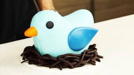 牛人做的小鸟翻糖蛋糕,跟真的一样,一不留神小心跑了去!