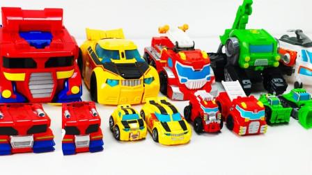 方形擎天柱大黄蜂绿色工程车挖掘机机器人玩具变形