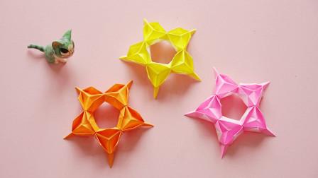 一款简单的纸艺组合五角星,几个步骤完成,小朋友们很喜欢