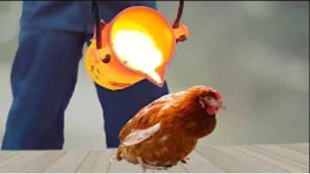 烤鸡的全新做法,用1000℃高温铜水做鸡?真的会熟吗?