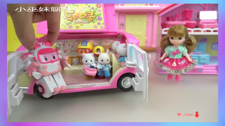 【宝宝玩具 玩偶 过家家】Hello Kitty bag house and car toys pl