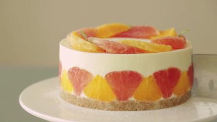 免烤葡萄柚橘子芝士蛋糕,香甜可口,两种水果口味挑战你的味蕾