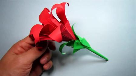 折纸大全简单又漂亮百合花,纸艺手工百合花的折法,简单易学