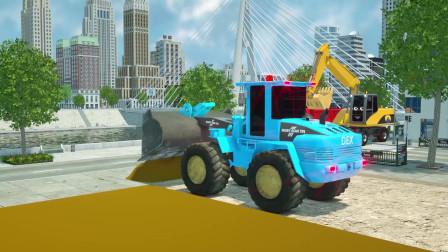 城市建筑工程车分工明确 相互协作 建设美丽的公园 动画片
