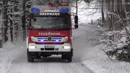 德国消防车穿越雪地不减速,看完不得不服