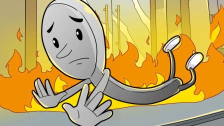 商店着火了,勺子死里逃生跑了出来,真幸运!