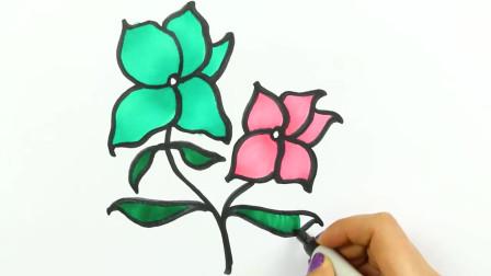 创意手工:儿童如何画花,创意绘画和颜色