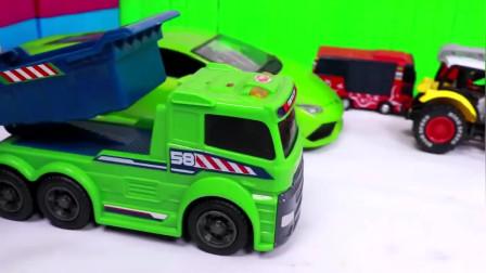 巴士车动画片 挖掘机装卸车小汽车大卡车