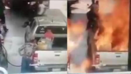 7岁女孩在加油站等父亲 不料窜起大火将其吞噬