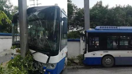 浙江一司机开车玩手机 公交撞上铁柱致8人受伤