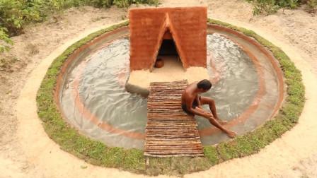 农村小伙在山林空地上挖了带有土屋的泳池,技术真让人佩服