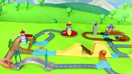 工程车玩具:小火车哐哐哐过山路,小汽车滴滴滴也来了