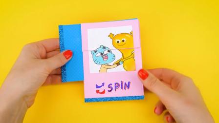 """轻轻""""旋转""""就会变脸的折纸玩意,做一个送给小孩挺不错的!"""