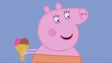 猪妈妈购买了草莓和巧克力口味的甜筒