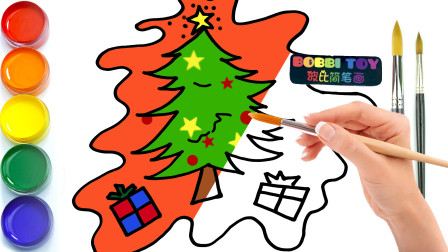 波比简笔画:教你如何画圣诞树,认识颜色学习英语,儿童轻松学画画