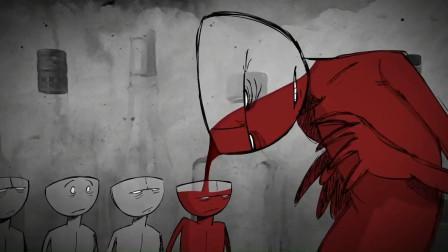 大酒杯有很多个小弟,每次倒一杯红酒,就会多一个小弟,奥斯卡高分隐喻动画《585号》