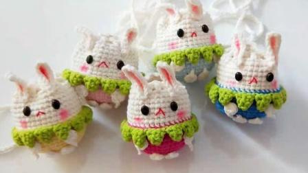 暖阳绒绒第40集立夏端午草莓兔子装蛋袋的编织毛线编织步骤