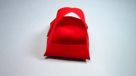 手工折纸,手提小篮子的折法,步骤简单又漂亮好可爱