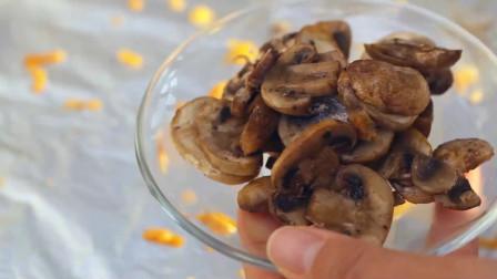 蒜香芝士酥脆面包条,再来一份橄榄油蘑菇
