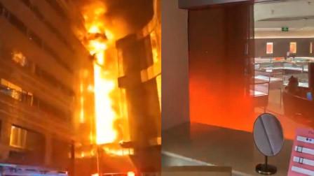 南京金鹰大厦起火 网友不选择逃生淡定拍下窗外火苗