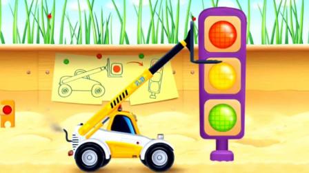 认识工程车升降车 驾驶操作吊臂车执行任务 儿童卡通休闲益智游戏