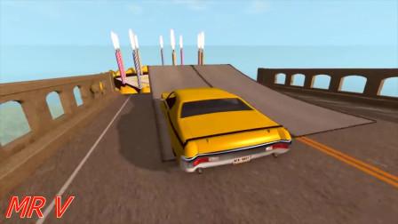 Beamng drive:汽车用生日蛋糕跳开桥