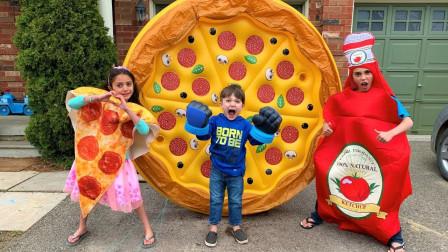 超精彩,萌宝小正太和小萝莉竟然把自己打扮成披萨,咋回事?