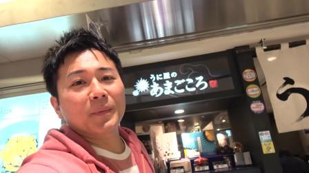 日本小哥,小哥在海胆专卖店吃海胆饭团,松软的奶油舒芙蕾欧姆